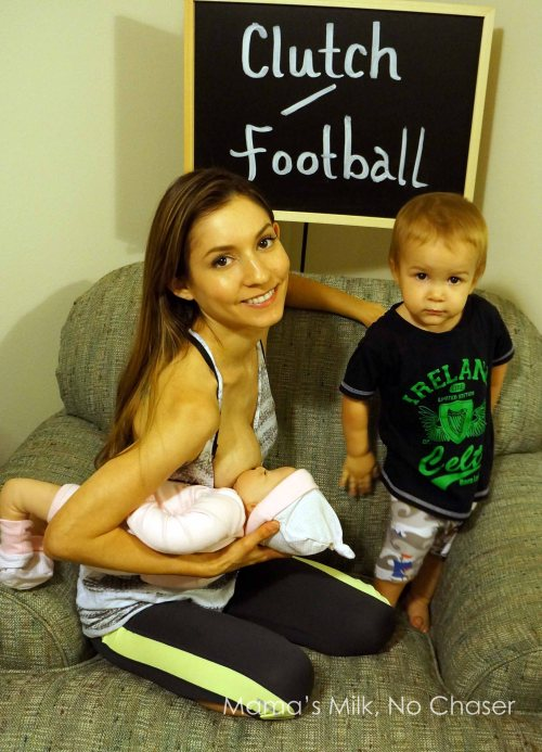 how to do the football hold breastfeeding