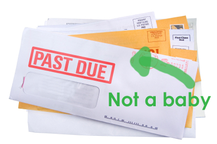 A pile of bills /junk mail with a final notice bill on top. Add your own text and address.